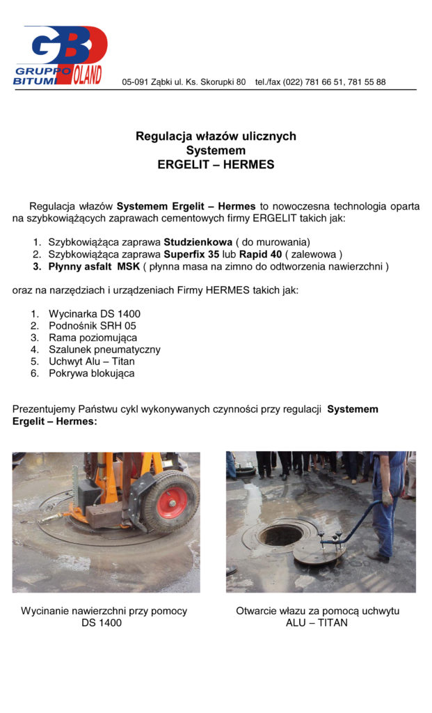 Regulacja studni Ergelit Hermes 1